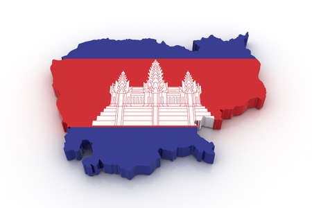 Three dimensional map of Cambodia in Cambodian flag colors.