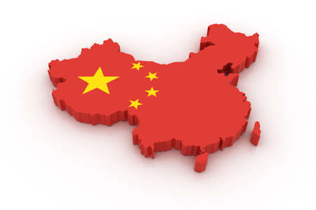 Three dimensional map of China in Chinese flag colors. Stock Photo