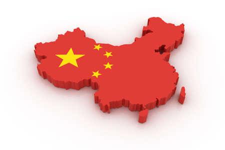 mapa de china: Tres mapa tridimensional de China en colores de la bandera China.