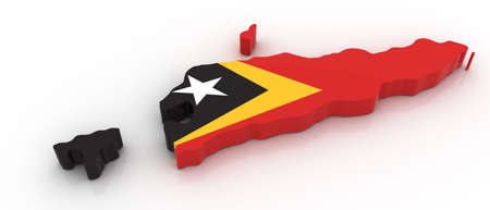 timor: Three dimensional map of East Timor in East Timor flag colors.