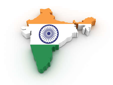 Three dimensional map of India in Indian flag colors. photo