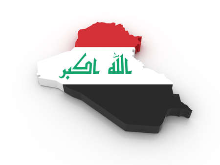 Three dimensional map of Iraq in Iraqi flag colors. photo