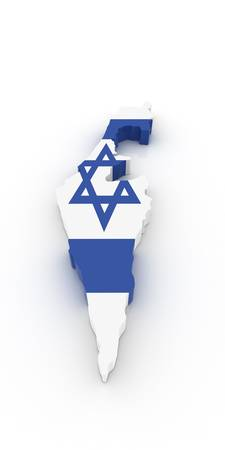 Three dimensional map of Israel in Israeli flag colors.