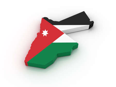 Three dimensional map of Jordan in Jordan flag colors.