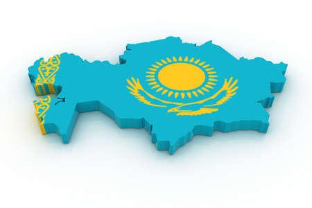Tres mapa tridimensional de Kazahstan en colores de la bandera de Kazahstan.