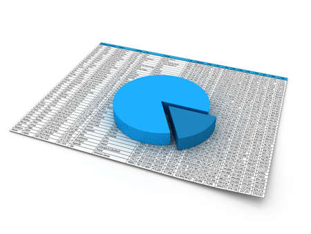 wykres kołowy: Niebieski wykres kołowy na papierze dane finansowe.