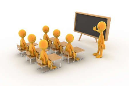 Six children/students/people are listening to a lecture. Stock Photo - 6442147