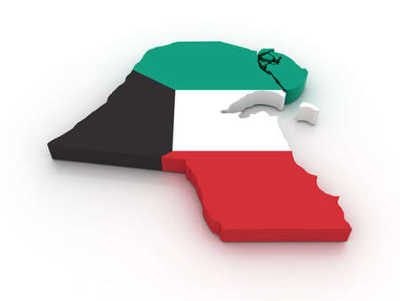 kuwait: Three dimensional map of Kuwait in Kuwaiti flag colors. Stock Photo