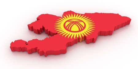 kyrgyzstan: Tres mapa tridimensional de Kirguist�n en colores de la bandera de Kirguist�n.  Foto de archivo