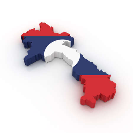 Three dimensional map of Laos in Laotian flag colors.