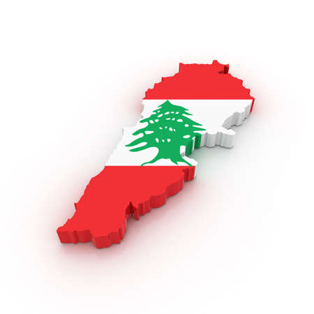 Three dimensional map of Lebanon in Lebanese flag colors.