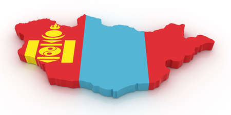 Three dimensional map of Mongolia in Mongolian flag colors.