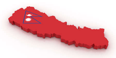 Three dimensional map of Nepal in Nepal flag colors.