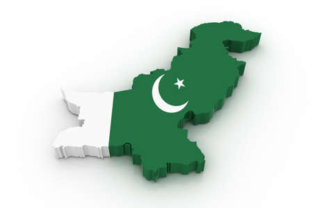 pakistani pakistan: Three dimensional map of Pakistan in Pakistani flag colors. Stock Photo