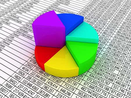camembert graphique: Un graphique � secteurs color� sur papier de chiffres financiers.