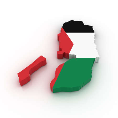 palestinian: Three dimensional map of Palestine in Palestinian flag colors. Stock Photo