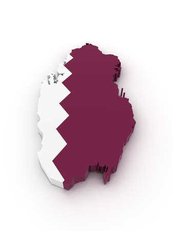 Three dimensional map of Qatar in Qatar flag colors.