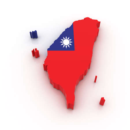 Three dimensional map of Taiwan in Taiwan flag colors. photo