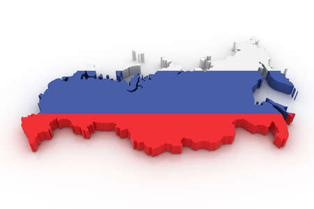 geography: Three dimensional map of Russia in Russian flag colors.