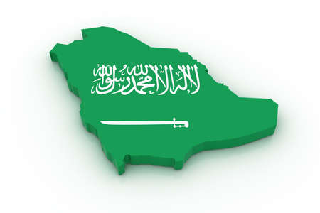 Three dimensional map of Saudi Arabia in Saudi Arabian flag colors. Stock Photo