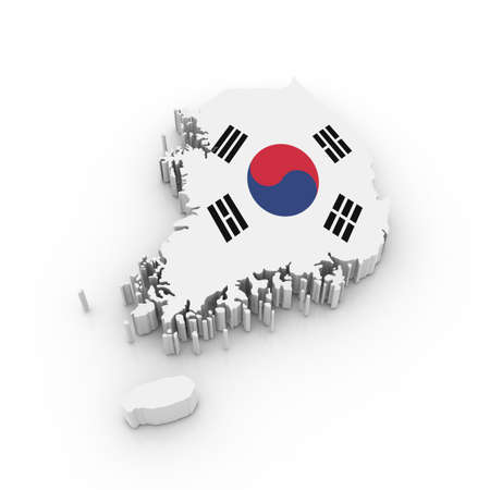 korea: Three dimensional map of South Korea in South Korean flag colors.