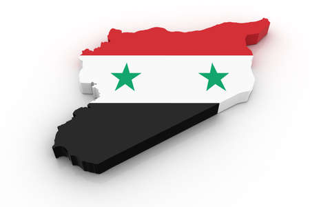 Three dimensional map of Syria in Syrian flag colors.