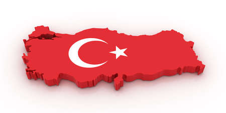 turkish flag: Three dimensional map of Turkey in Turkish flag colors. Stock Photo