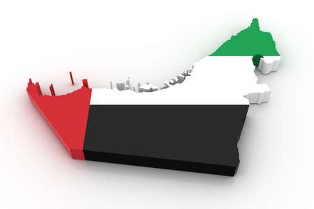 nacional: Tres mapa tridimensional de Emiratos Árabes Unidos en colores de la bandera de los Emiratos Árabes Unidos.  Foto de archivo