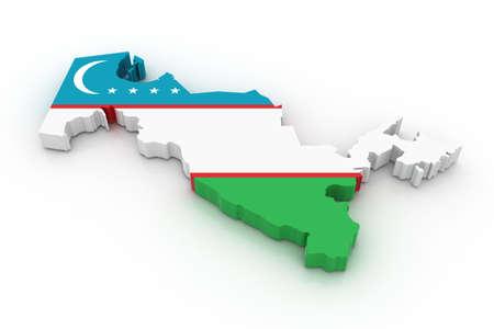 uzbekistan: Three dimensional map of Uzbekistan in Uzbekistan flag colors. Stock Photo