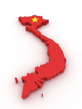 vietnam: Three dimensional map of Vietnam in Vietnamese flag colors.