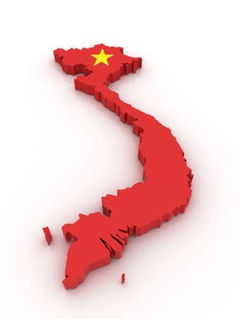 three dimensional: Three dimensional map of Vietnam in Vietnamese flag colors.