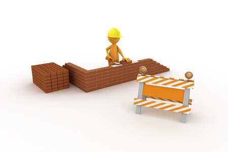 Tooney character is building his house. Stock Photo - 6556165