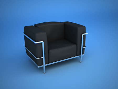 designer chair: A modern designer chair is isolated on blue background. Stock Photo