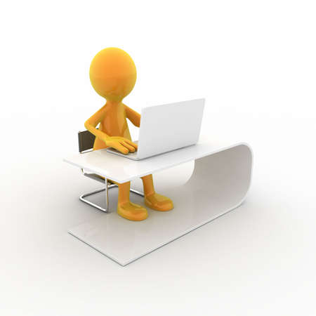 Tooney character is working on his laptop. Can be used for studying, working, relaxing,... photo