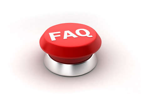 A 3d render of a red faq button. photo