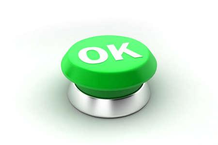 A 3d render of a green ok button. Stock Photo - 6599470