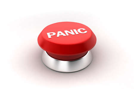 A 3d render of a red panic button. Stock Photo