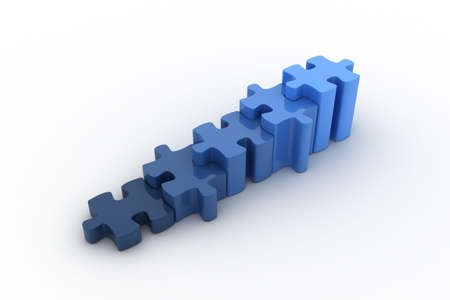 Blue puzzles are representing a growth graph. Concept of success, growth, positive attitude, finance,...