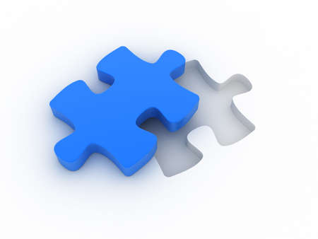 A blue puzzle is cut out of a white plane. Concept image for strategy, inspiration, organization,... photo