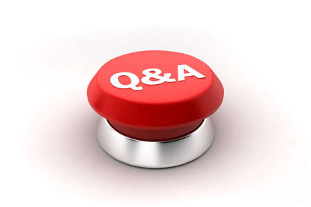 A 3d render of a red Questions and Answers button. photo