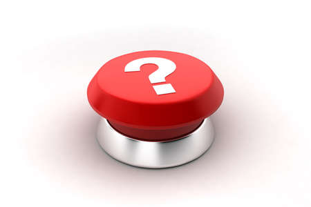 A 3d render of a red Question mark button. photo