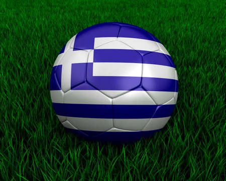 Greek soccer ball in grass. photo