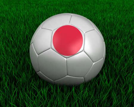 Japanese soccer ball in grass. Stock Photo - 7140073