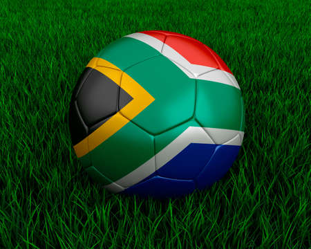 South african soccer ball in grass. Stock Photo - 7140082