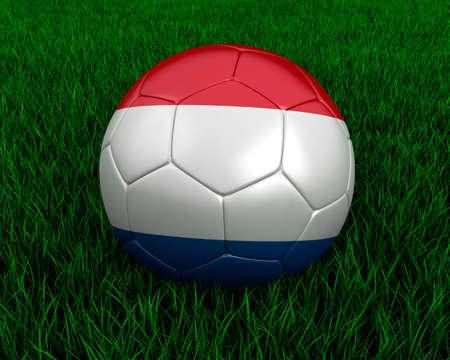 Dutch soccer ball in grass. Stock Photo - 7140076