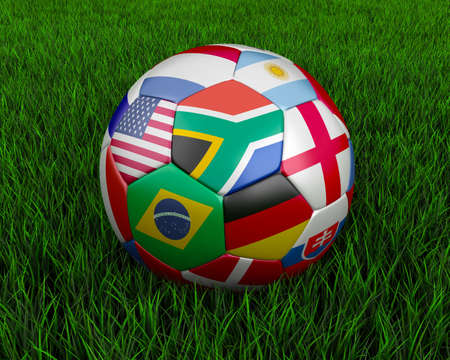 Soccer ball with various country flags. photo