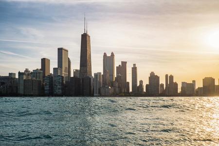 Chicago skyline on vintage tone
