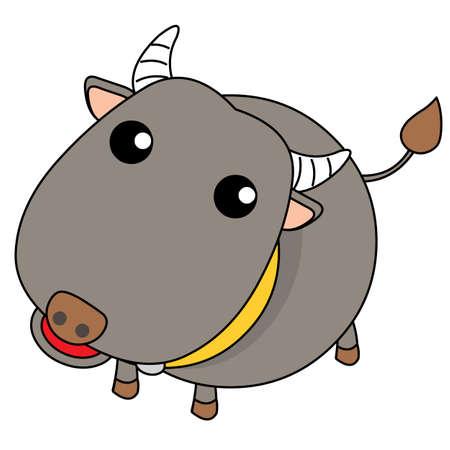 Buffalo Fat Cute Illustration