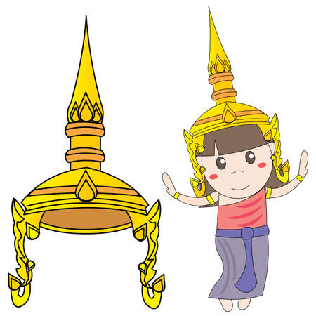 thai dance: Tiara Girl Thai style vector