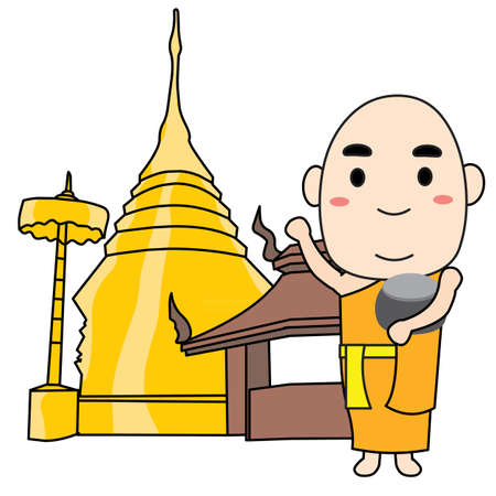 monk and temple on white background Illustration